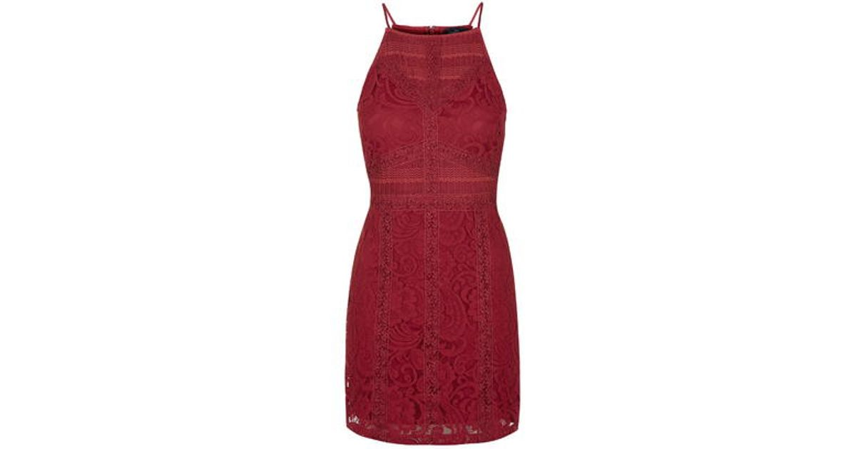 71369897905a TOPSHOP Petite Strappy Lace Bodycon Dress in Purple - Lyst