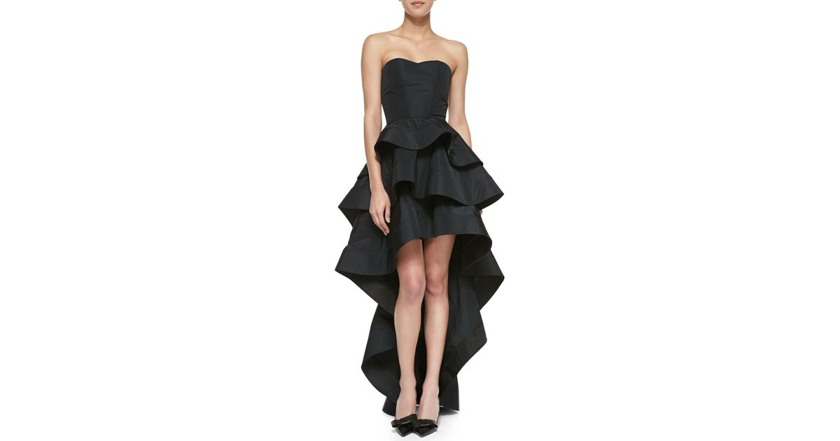 Lyst Alexis Leros Silk Ruffled Strapless Highlow Dress In Black