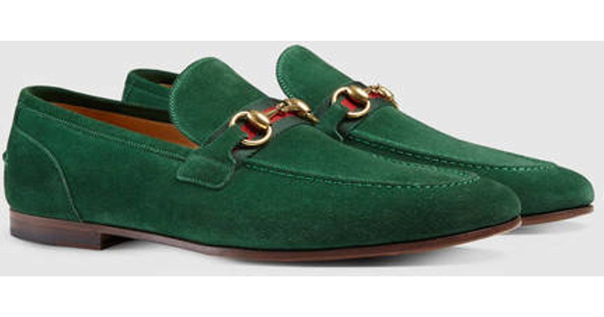 e89cfa4f6c70a6 Lyst - Gucci Horsebit Suede Loafer With Web in Green for Men