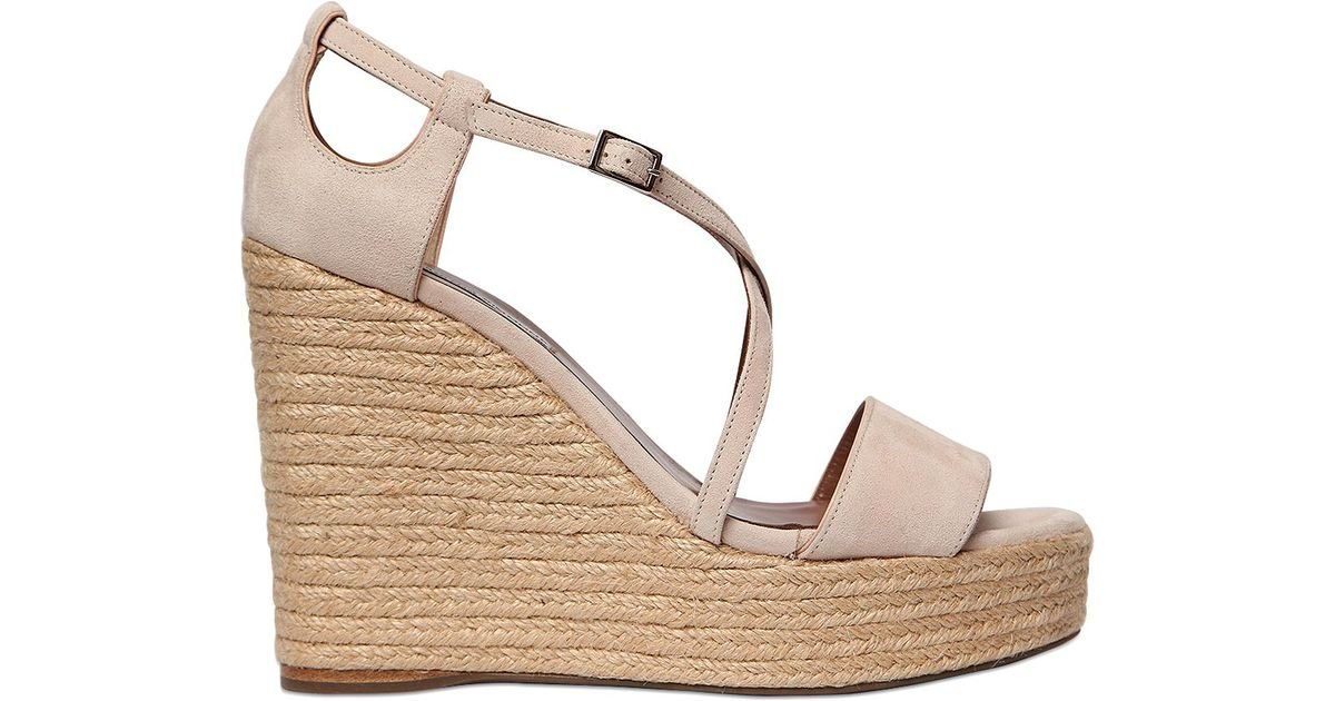 simmons 130mm suede wedge sandals in pink light