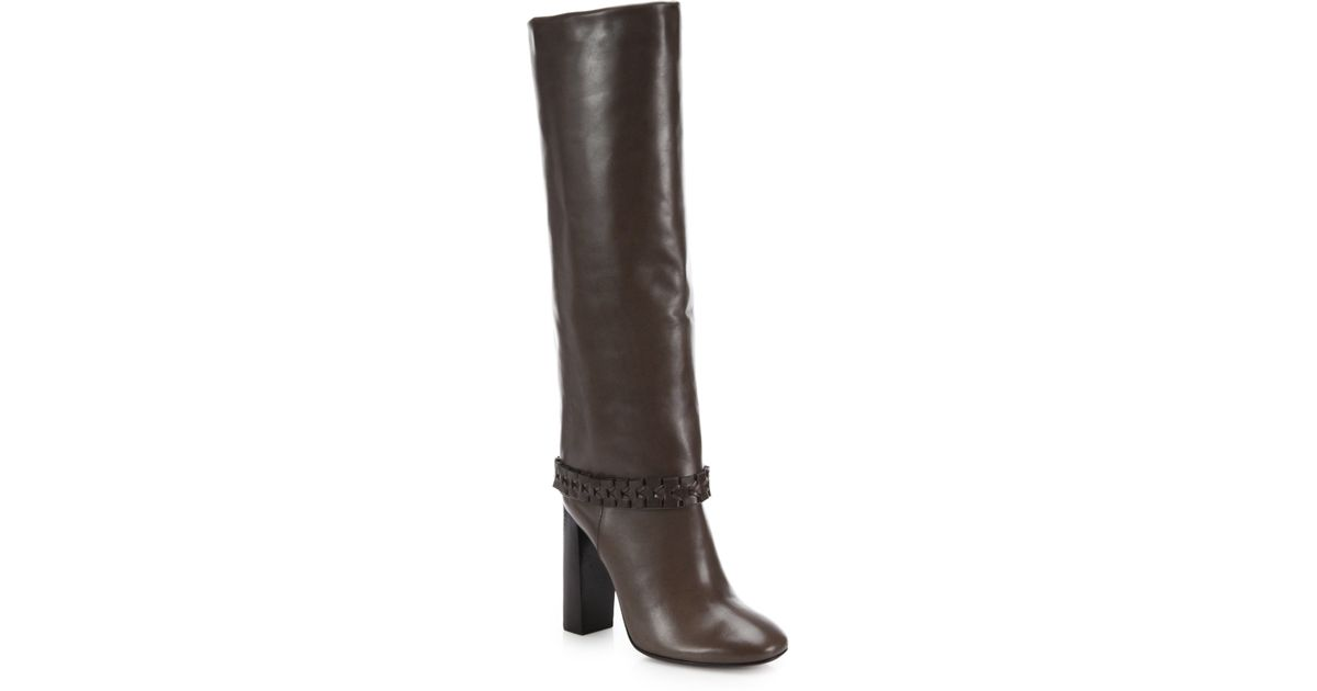 e127e7f7dc95 Lyst - Tory Burch Sarava Leather Braid-detail Knee Boots in Brown