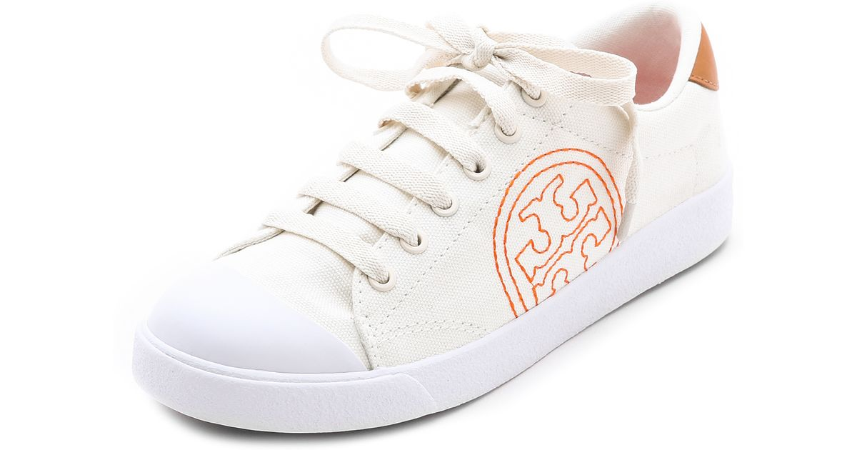 34236f765f5 Lyst - Tory Burch Wally Logo Stitch Sneakers Ivorytanpoppy Redivory in White