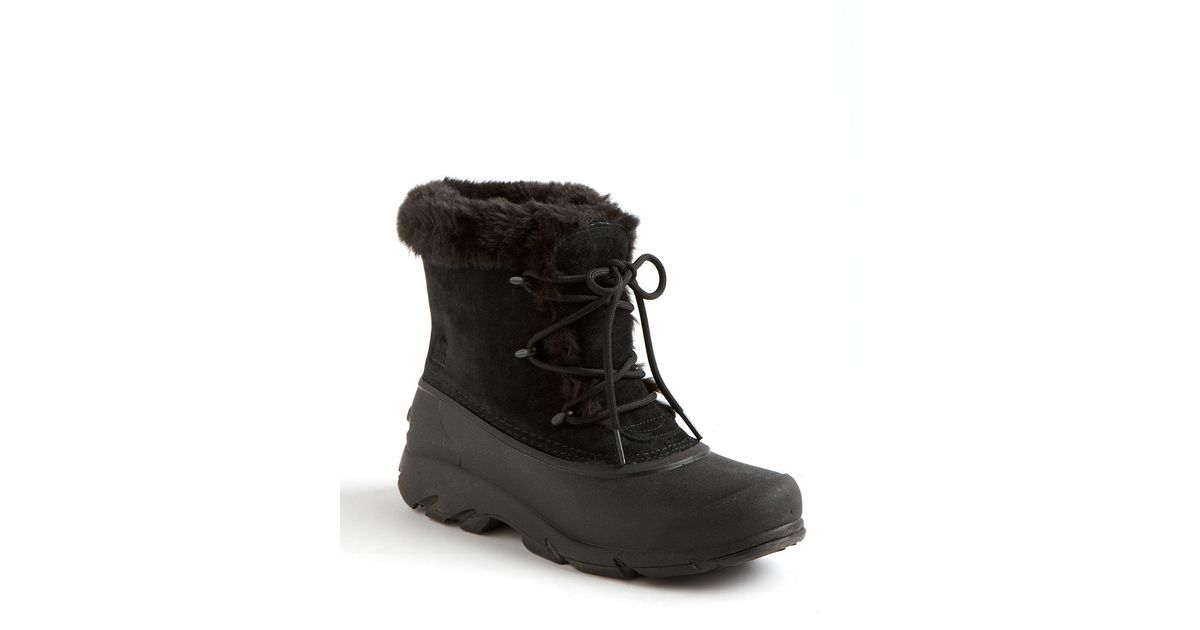 sorel snow faux fur lined suede boots in black lyst