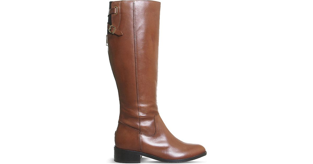office empire leather knee high rider boots in brown lyst