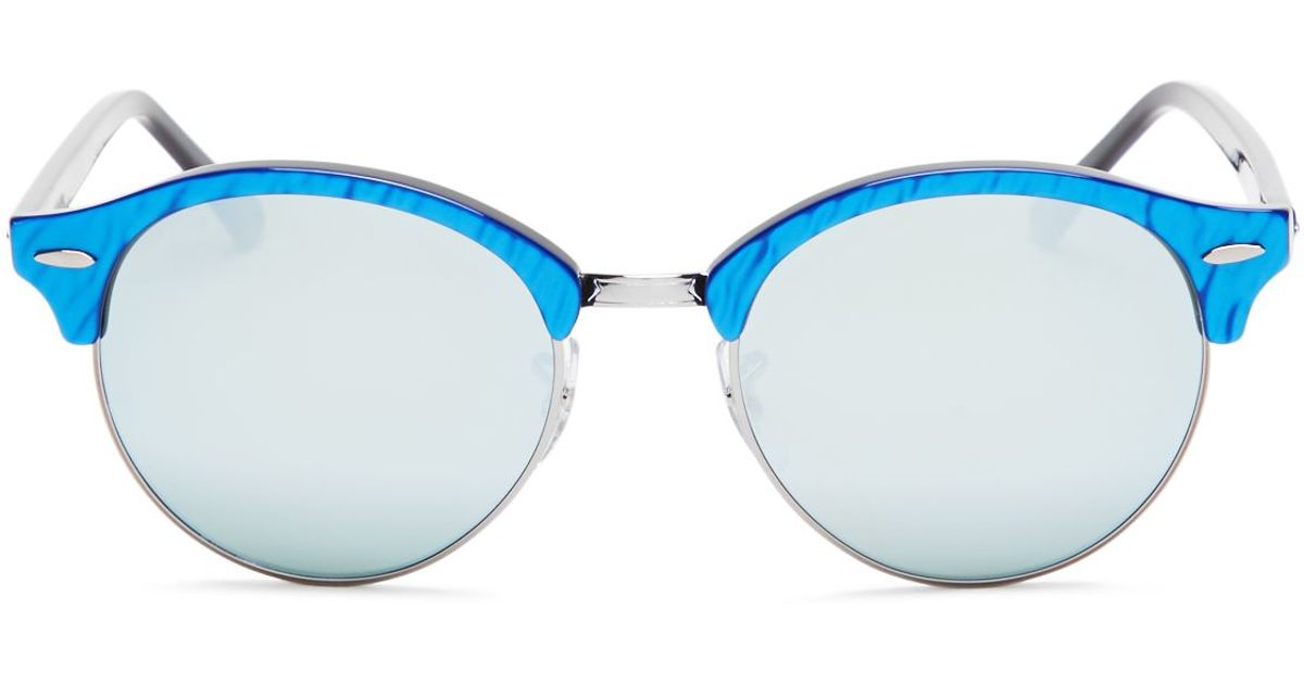 5d7a523cb5 ... italy lyst ray ban round mirrored clubmaster sunglasses 51mm in blue  a305a 98ac0
