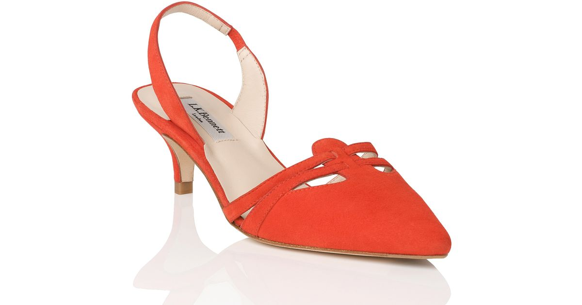 efebca261b6 L.K.Bennett Gabby Slingback Kitten Heel Sandals in Red - Lyst