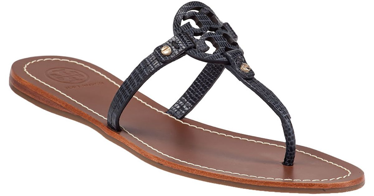 Tory Burch Mini Miller Flat Sandals In Blue Navy Lyst