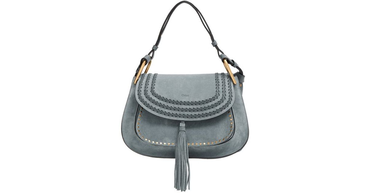 chloe white leather handbag - Chlo�� \u0026#39;hudson\u0026#39; Studded Suede Shoulder Bag in Blue (CLOUDY BLUE) | Lyst