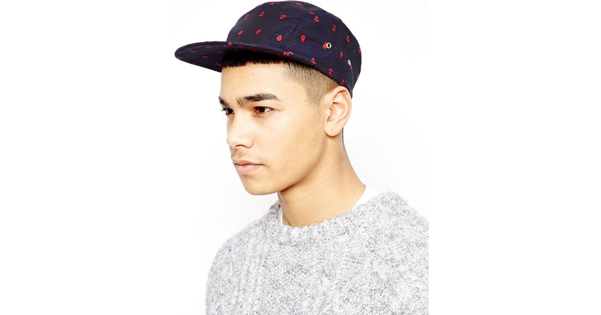 8a4e5912bfb Lyst - ASOS 5 Panel Cap with Anchor Embroidery in Blue for Men