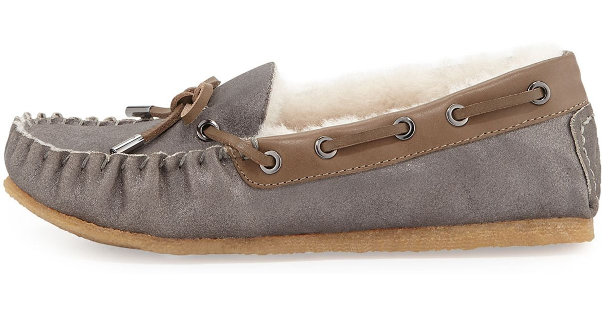 ec5a40d4ae2 Lyst - Tory Burch Maxwell Shearling-Lined Moccasin in Gray
