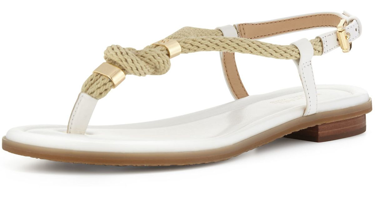 c71f9152aa13d1 Lyst - MICHAEL Michael Kors Holly Knotted Rope Flat Thong Sandal in White