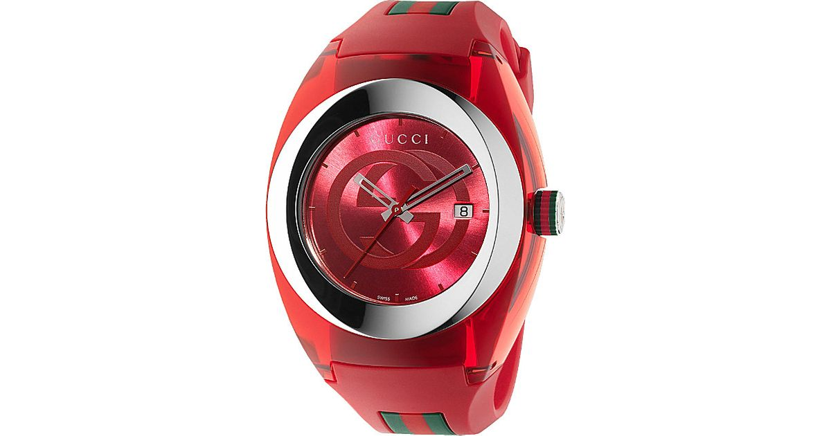 b1aeed701ed Gucci Ya137103 Sync Stainless Steel Watch in Red for Men - Lyst