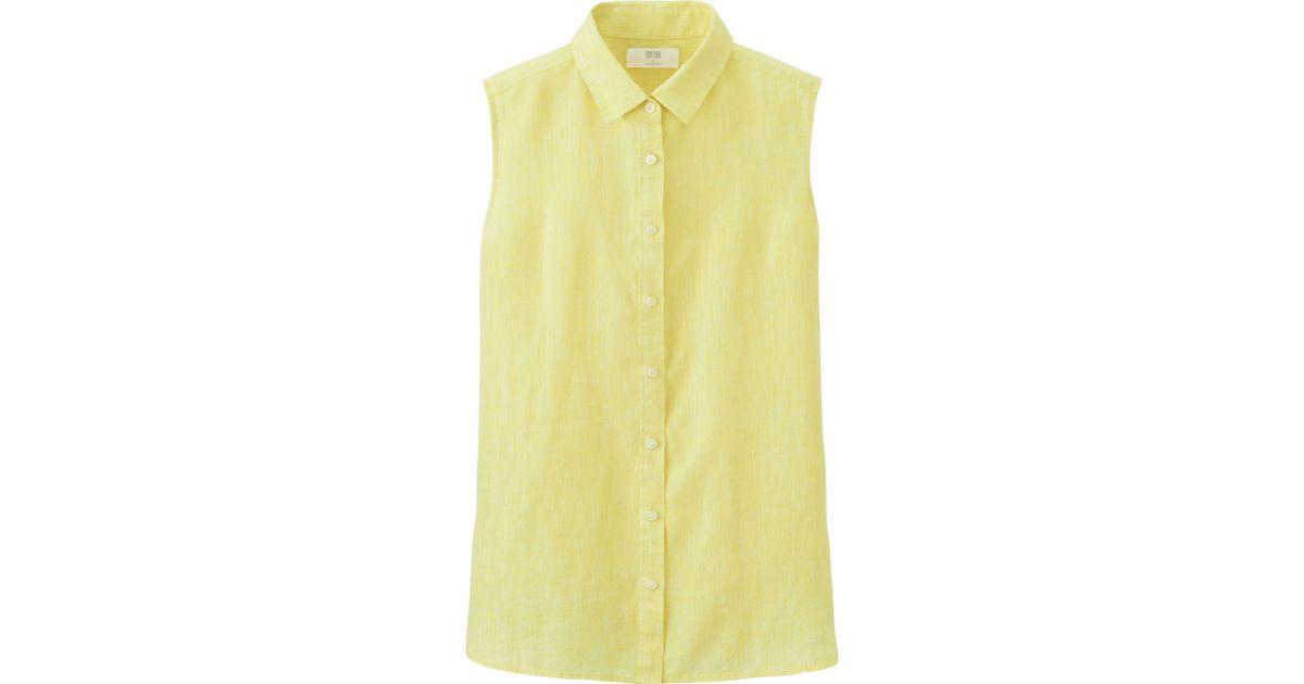 Uniqlo Women Premium Linen Sleeveless Shirt In Yellow Lyst
