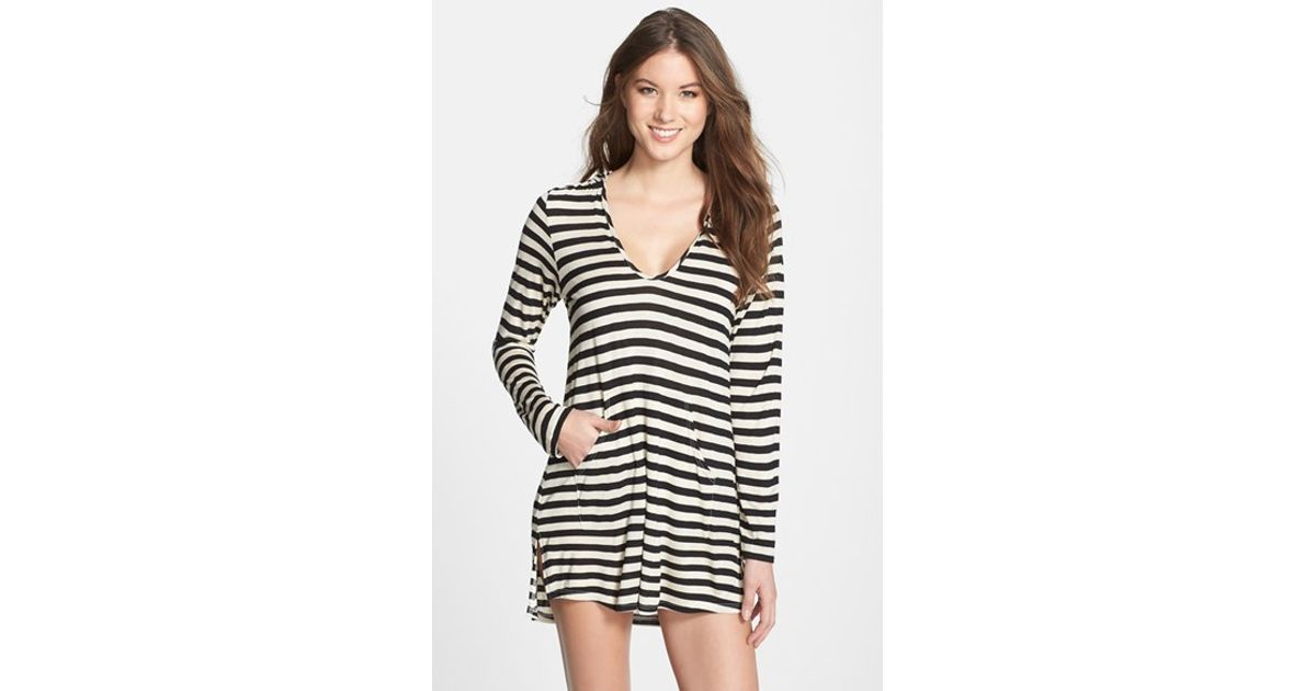 dba491c83f5 Lyst - Ella Moss  Cabana  Stripe Cover-Up Hoodie in Black