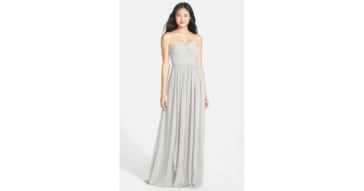 7b1b45e773f4 Lyst - Jenny Yoo 'aidan' Convertible Strapless Chiffon Gown in Gray