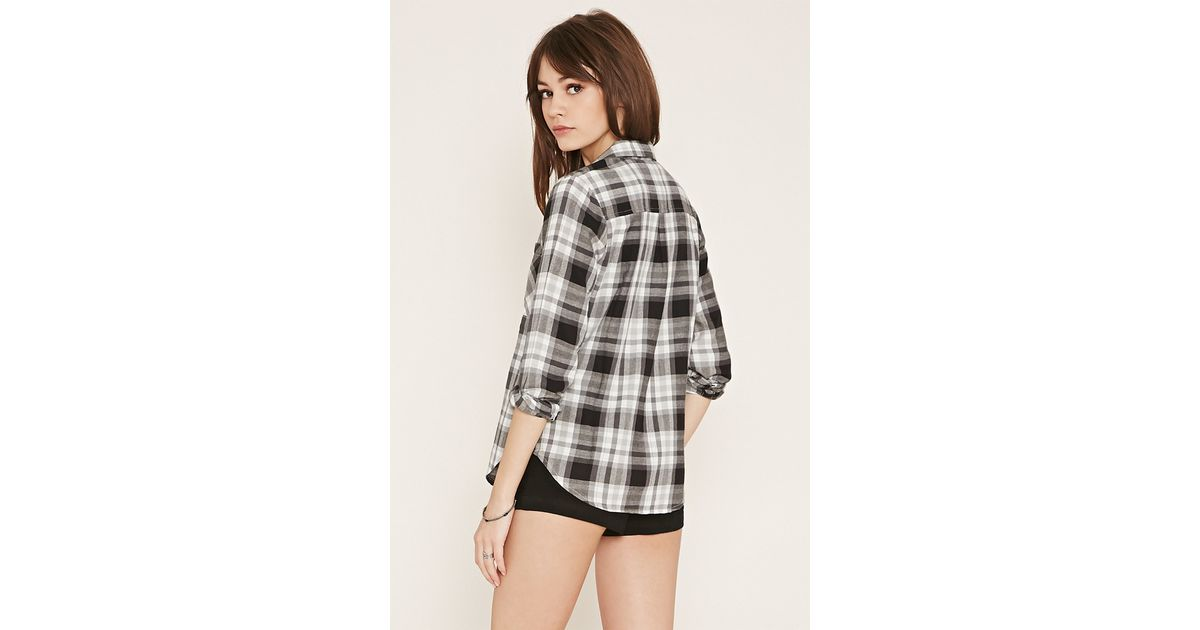 Forever 21 Check Flannel Shirt In Gray Lyst