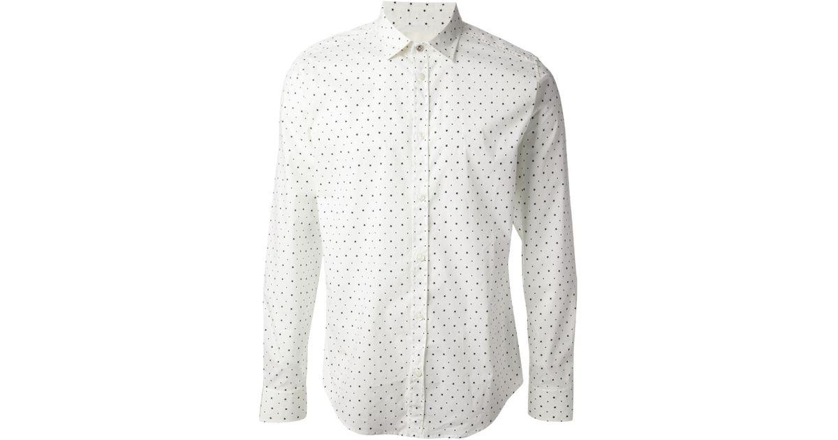 65f95426823a43 DIESEL Star Print Shirt in White for Men - Lyst