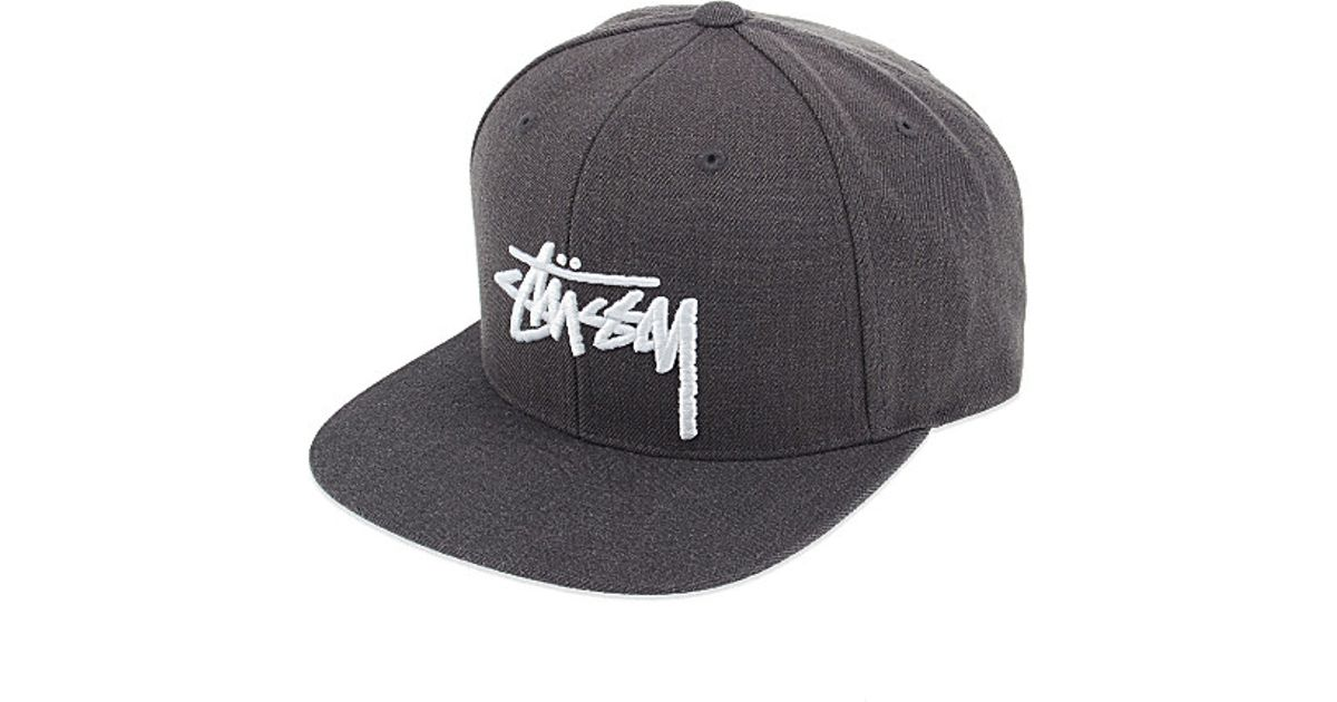 f59d68014f7182 Stussy Stock Logo Embroidered Snapback Cap in Gray for Men - Lyst