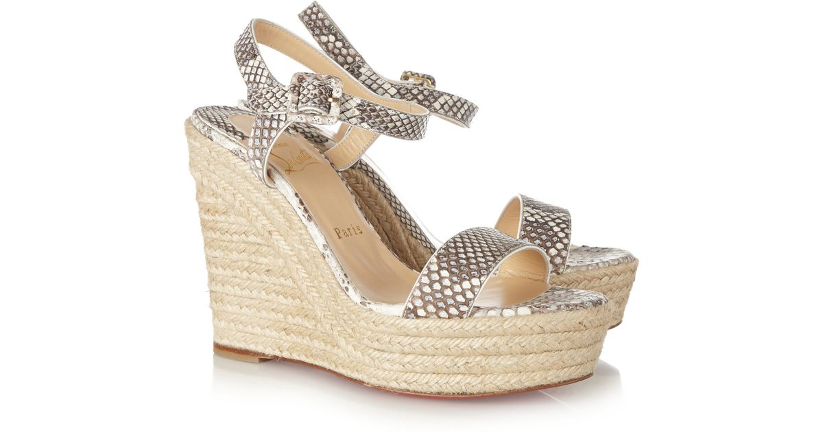 b65db9b8c595 Christian Louboutin Spachica 120 Python Espadrille Wedge Sandals in Gray -  Lyst