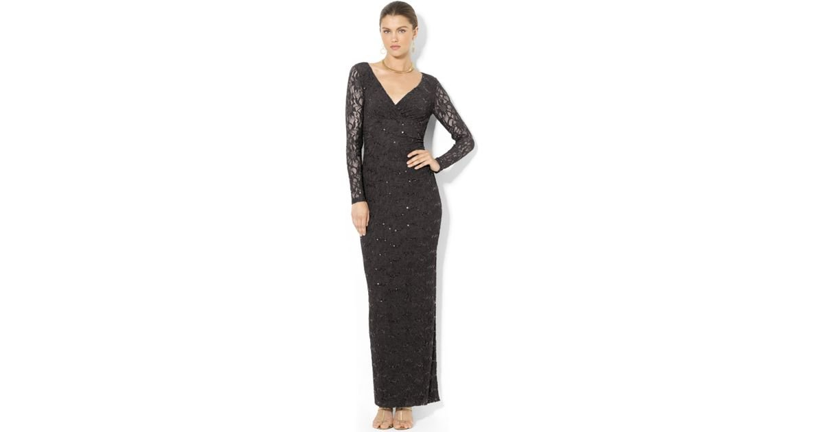Lyst - Lauren By Ralph Lauren Longsleeve Sequined Lace Gown in Black