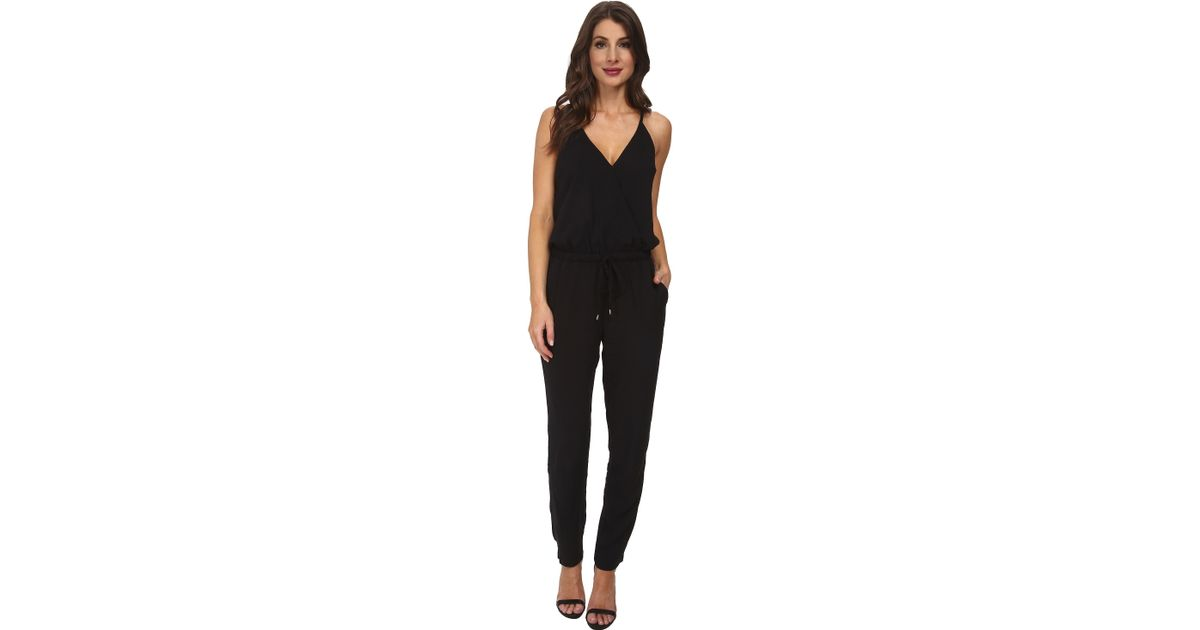 6584158812eb Lyst - Splendid Rayon Voile Crossover Jumpsuit in Black