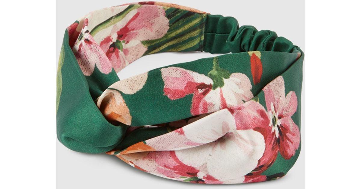 1ce80ce23c0 Gucci Blooms Print Silk Headband in Green - Lyst