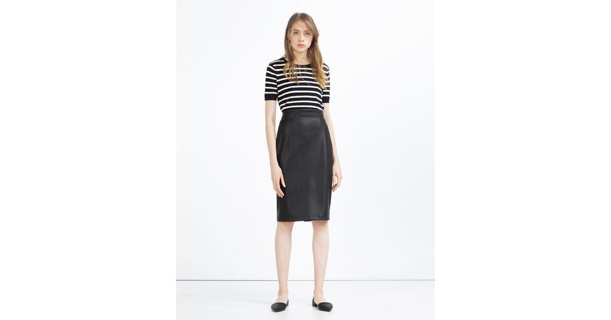 zara faux leather pencil skirt in black lyst