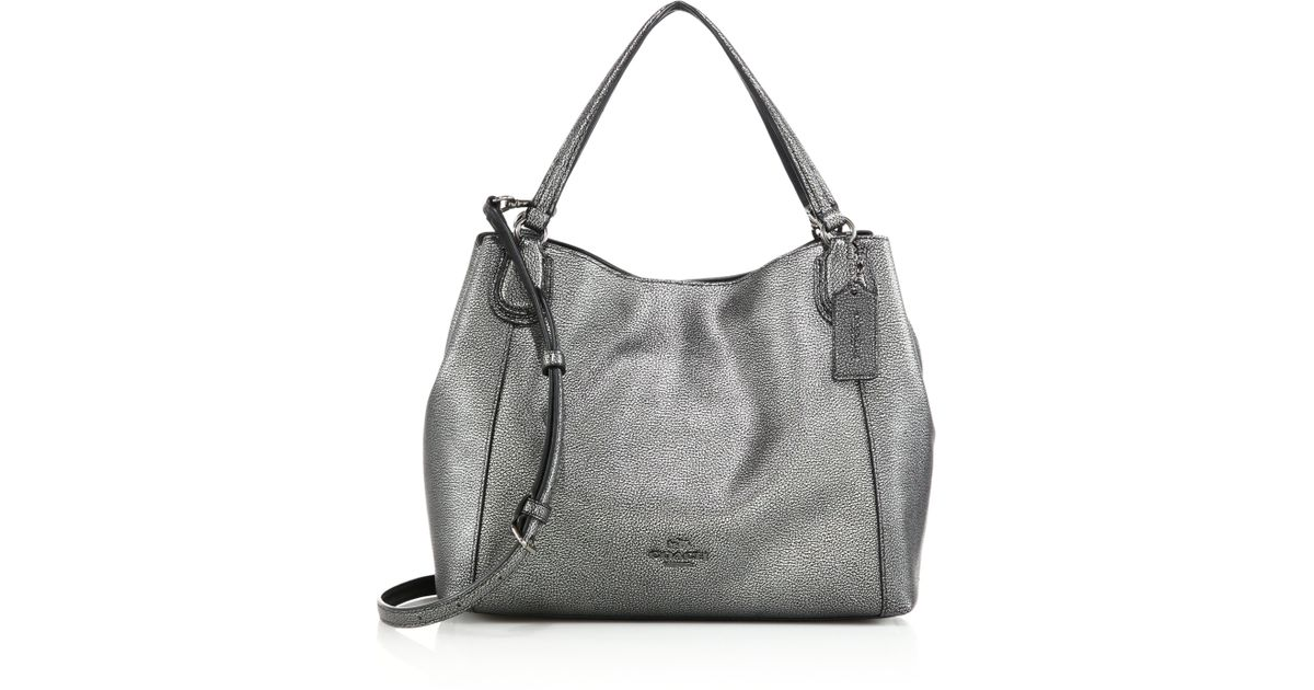 9ea585fe52 ... coupon code for lyst coach edie metallic pebbled leather shoulder bag  in metallic 5bac2 3ba25