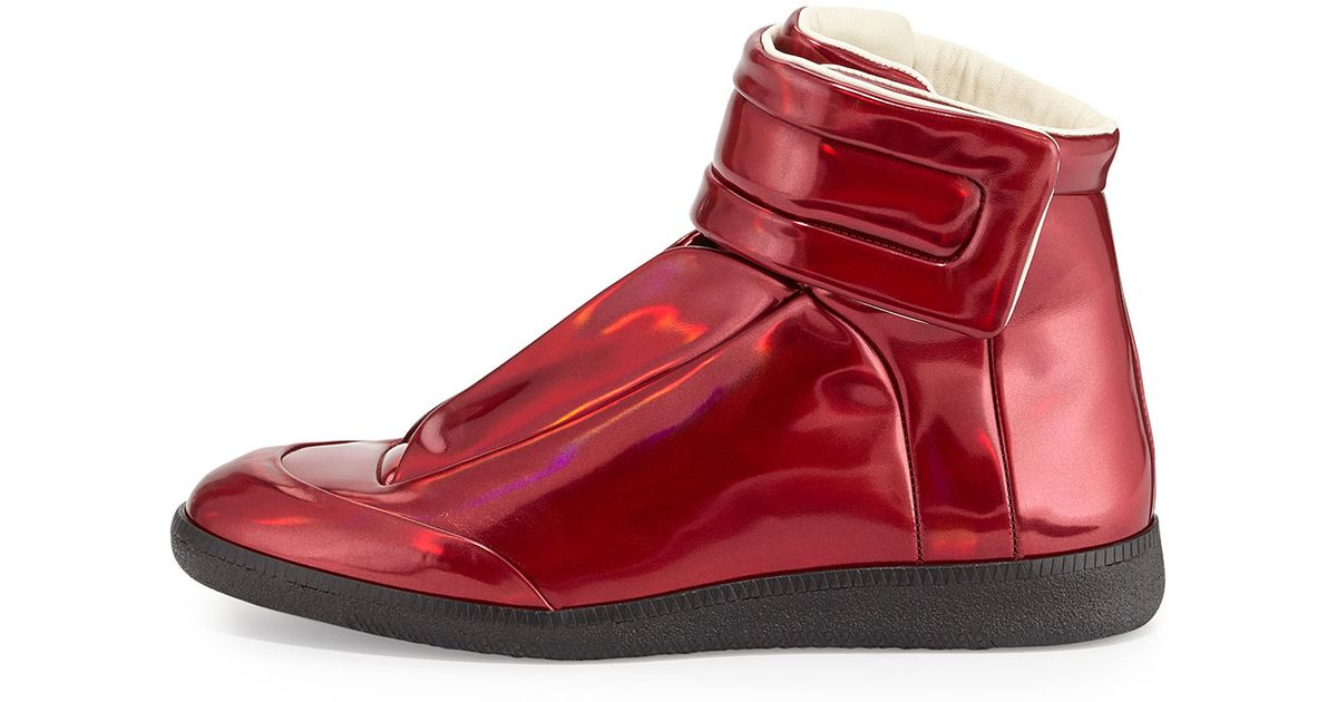 f8faf2c21ef04 Lyst - Maison Margiela Future Leather High-Top Sneakers in Red for Men