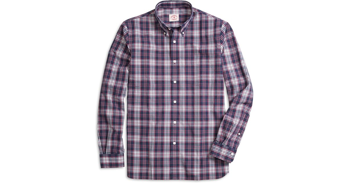 Brooks brothers navy and red plaid sport shirt in blue for for Womens navy plaid shirt