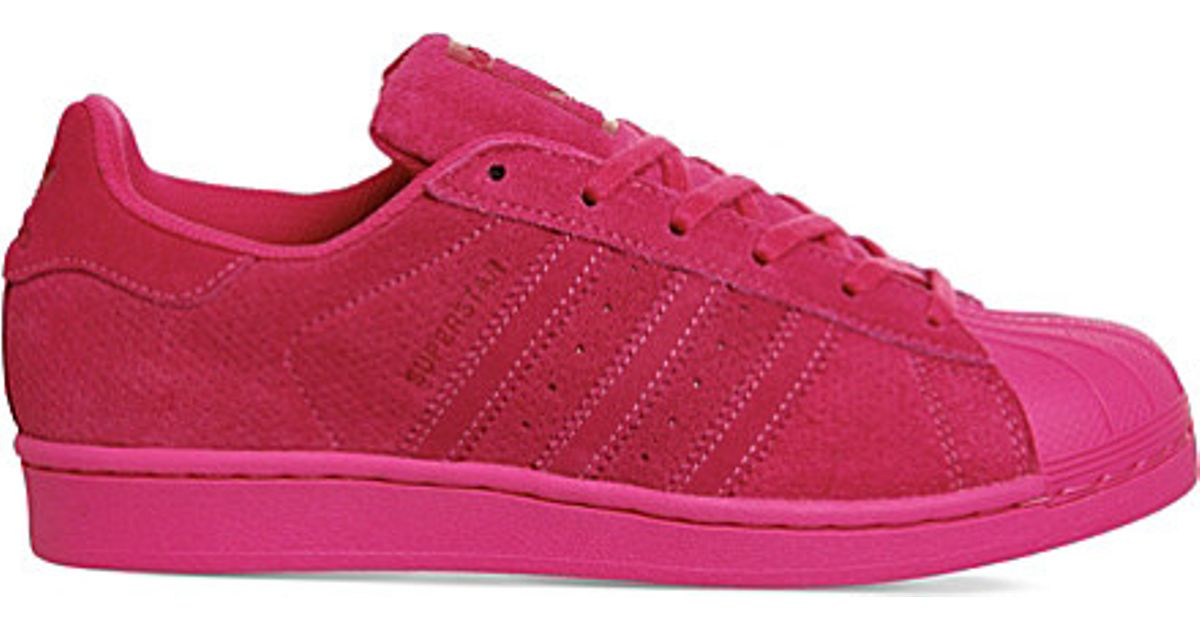 c89240f41a8aa Lyst - adidas Originals Superstar 1 Suede Trainers in Pink