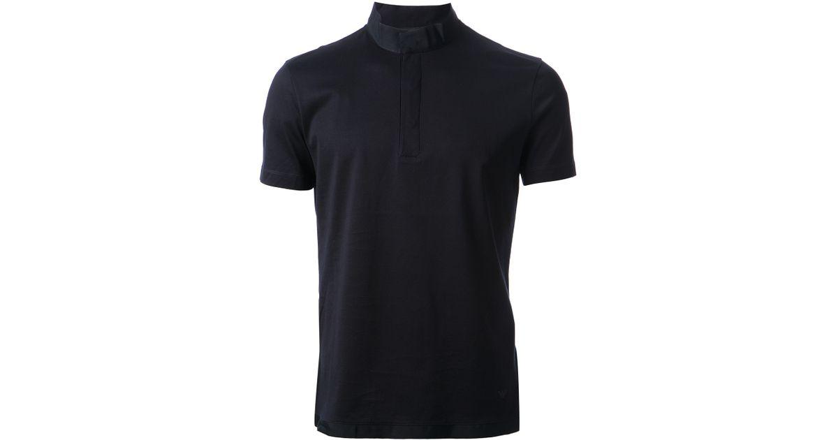 d4a2596952 Lyst - Emporio Armani Mandarin Collar Polo Shirt in Blue for Men