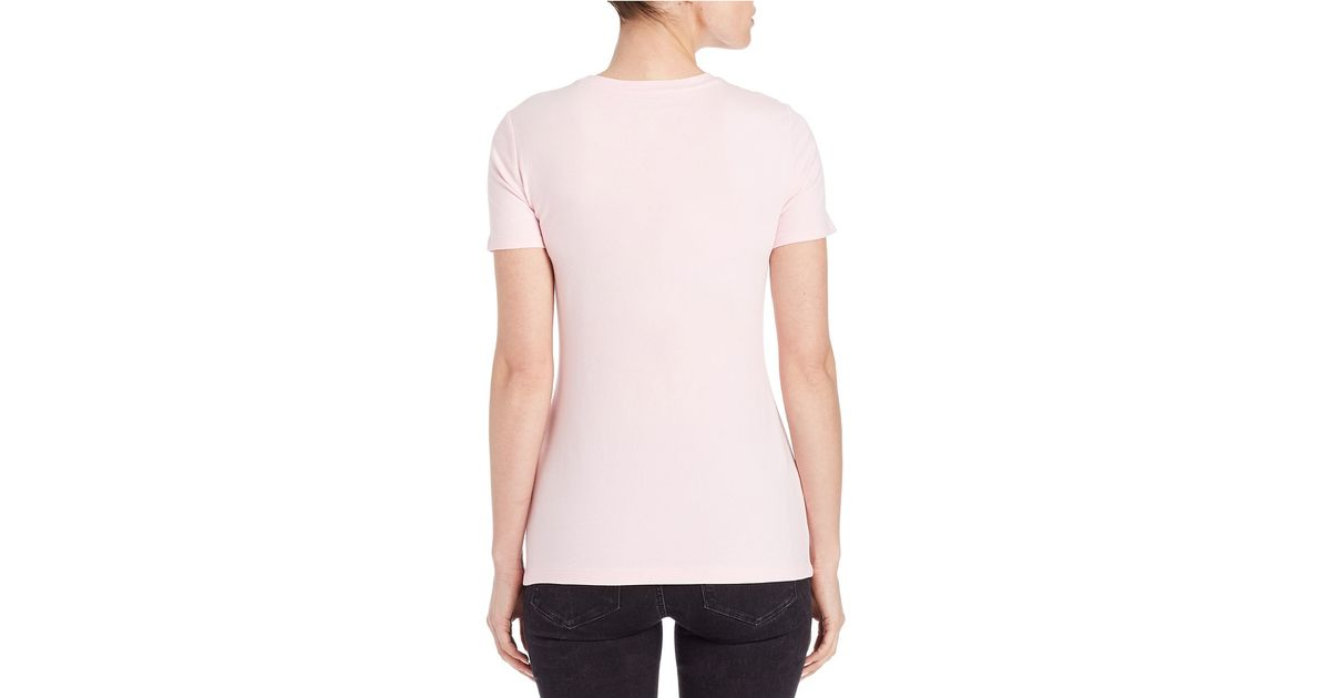 ca23aa2d0ddc2 Lyst - Lord   Taylor Plus Stretch-cotton Crewneck Tee in Pink