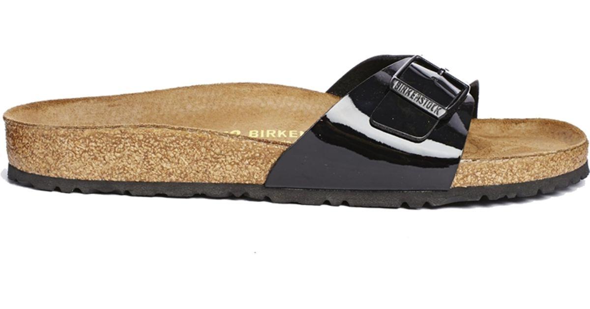 2e8cb49011ed Lyst - Birkenstock Madrid Black Patent Flat Sandals in Black
