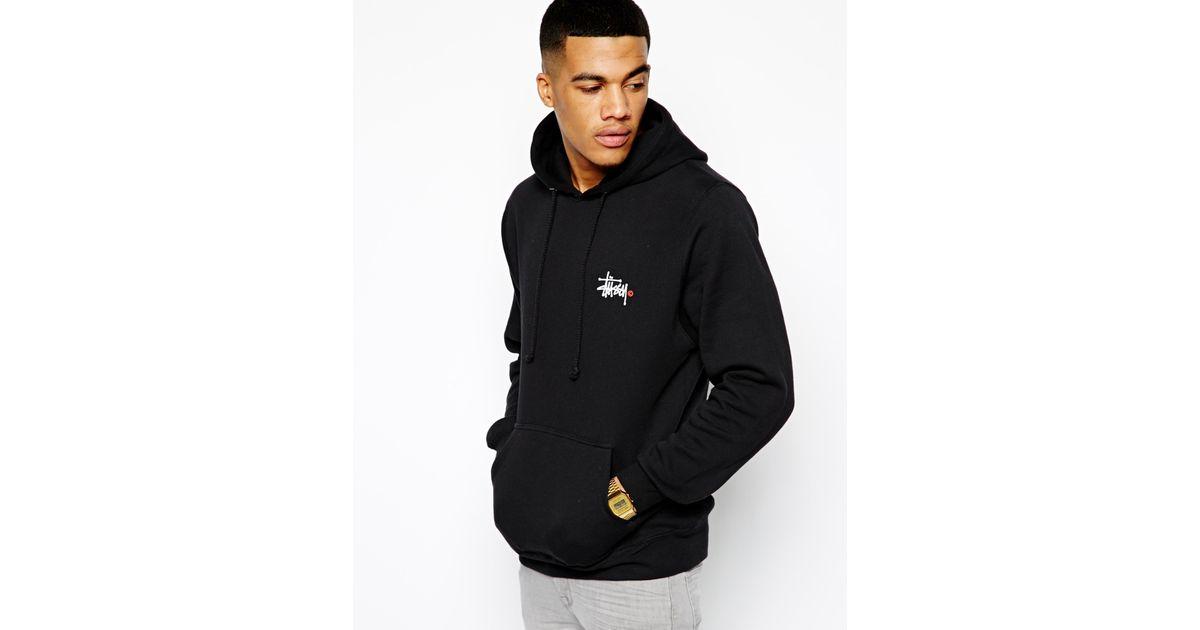 39028fa55d59 Stussy Hoodie Basic Logo Back Print in Black for Men - Lyst