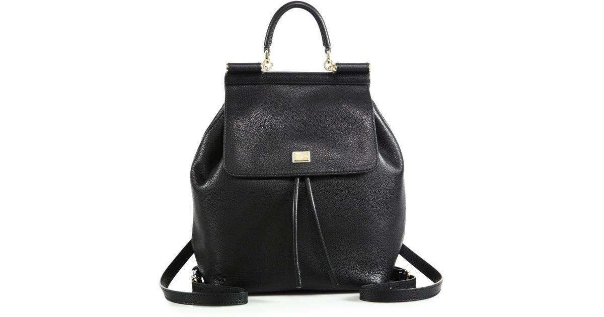 c32b35cd004e Lyst - Dolce   Gabbana Sicily Leather Backpack in Black