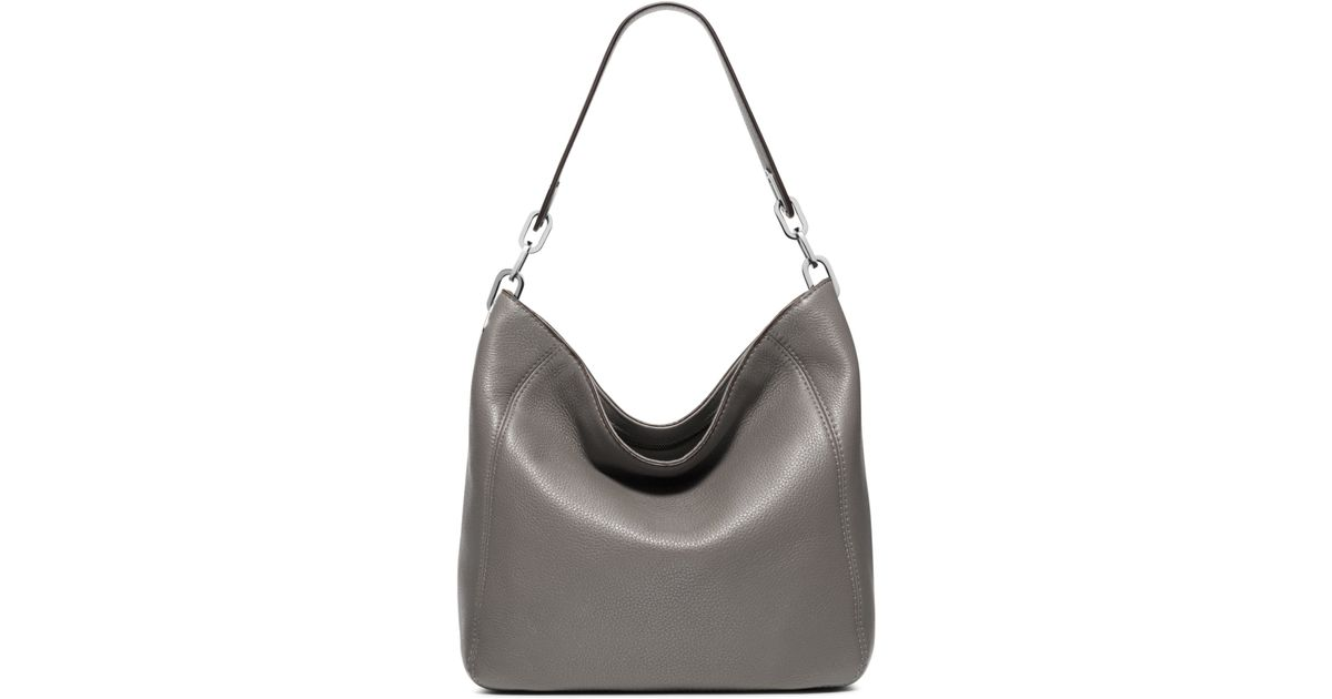 Lyst - Michael Kors Fulton Medium Leather Shoulder Bag in Gray 4b398d6a3f3c4