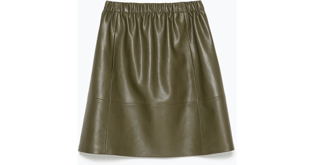 Zara Faux Leather Skirt in Natural | Lyst