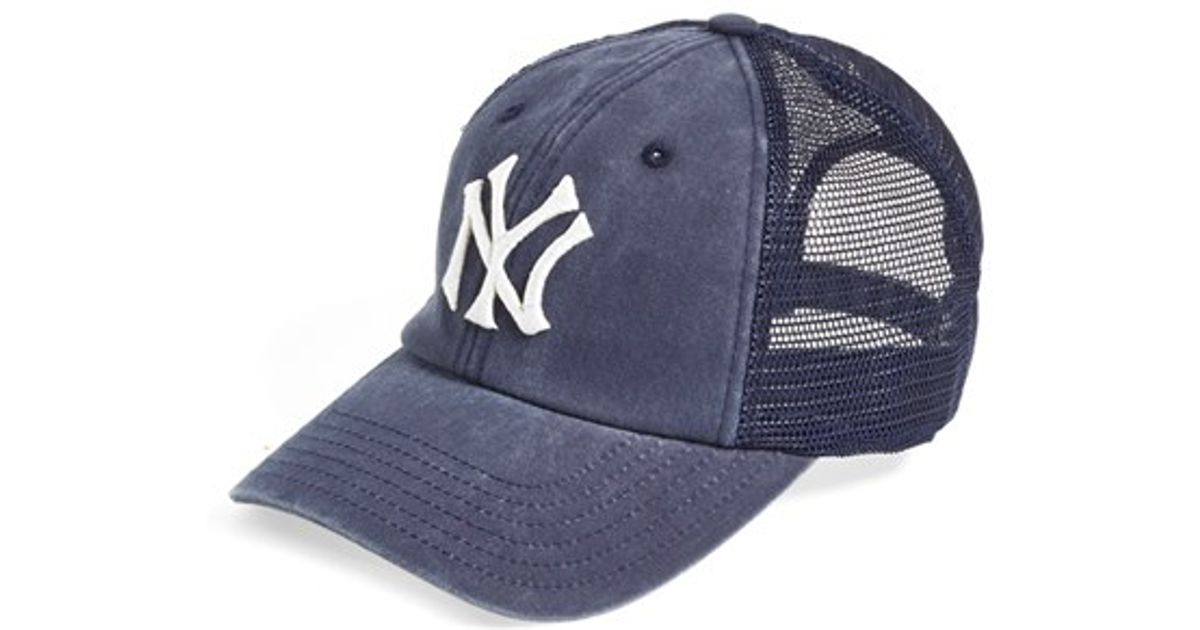 d1cadb7dfb9 netherlands trucker hats fansedge b22b1 1d81c  denmark lyst american needle  new york yankees raglan bones mesh trucker cap in blue for men