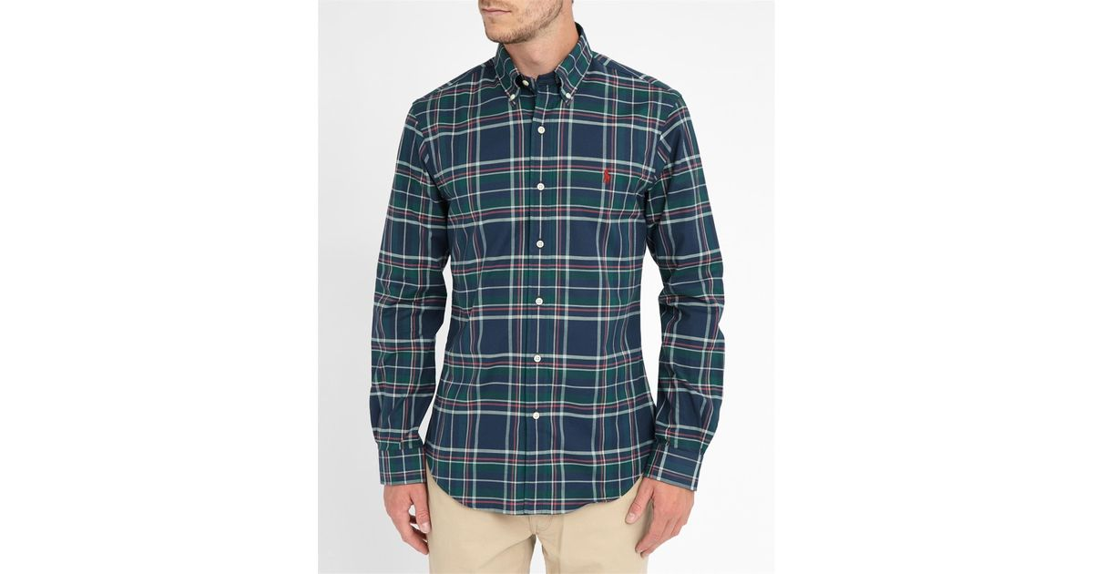 Polo ralph lauren green blue red checked slim fit shirt in for Red and green checked shirt