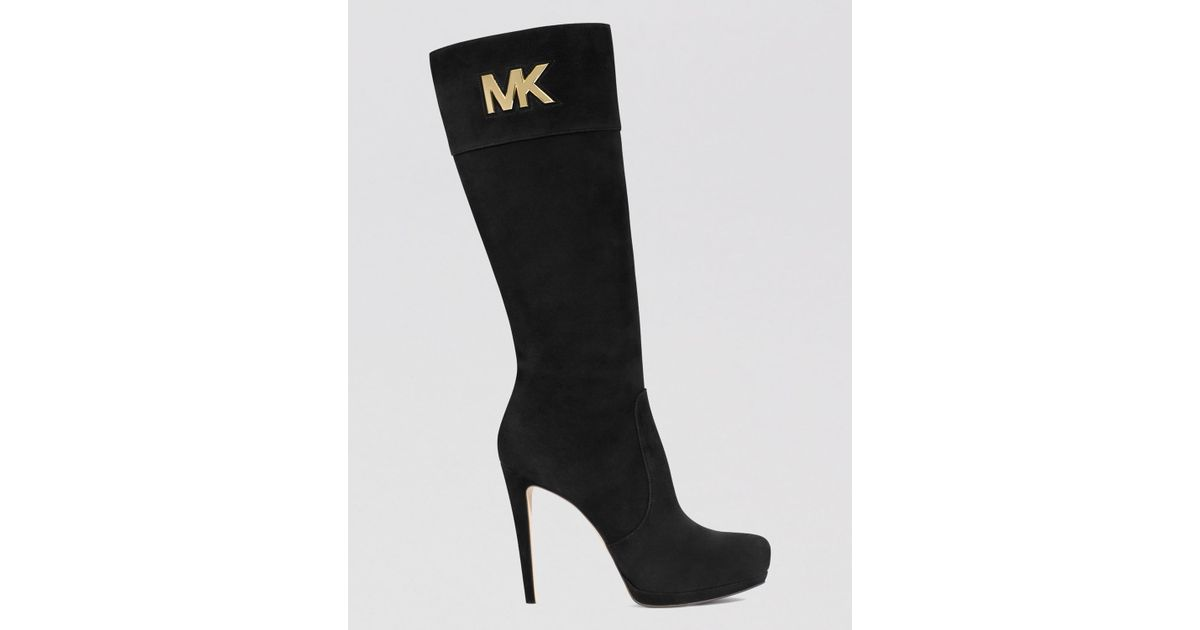 77e3498975f1 Lyst - MICHAEL Michael Kors Tall Dress Boots - Hayley Mk Logo Plate High  Heel in Black