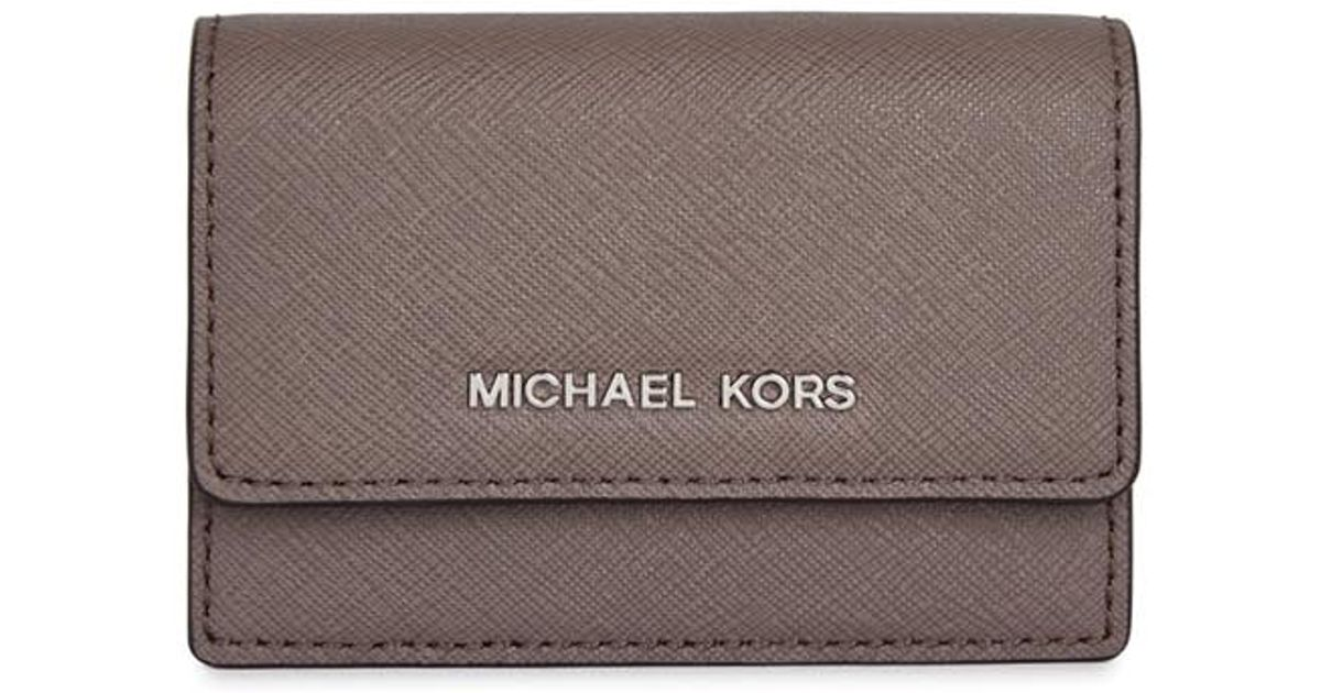 f5debc432b126c Michael Kors Daniela Mushroom Leather Card Holder in Gray - Lyst