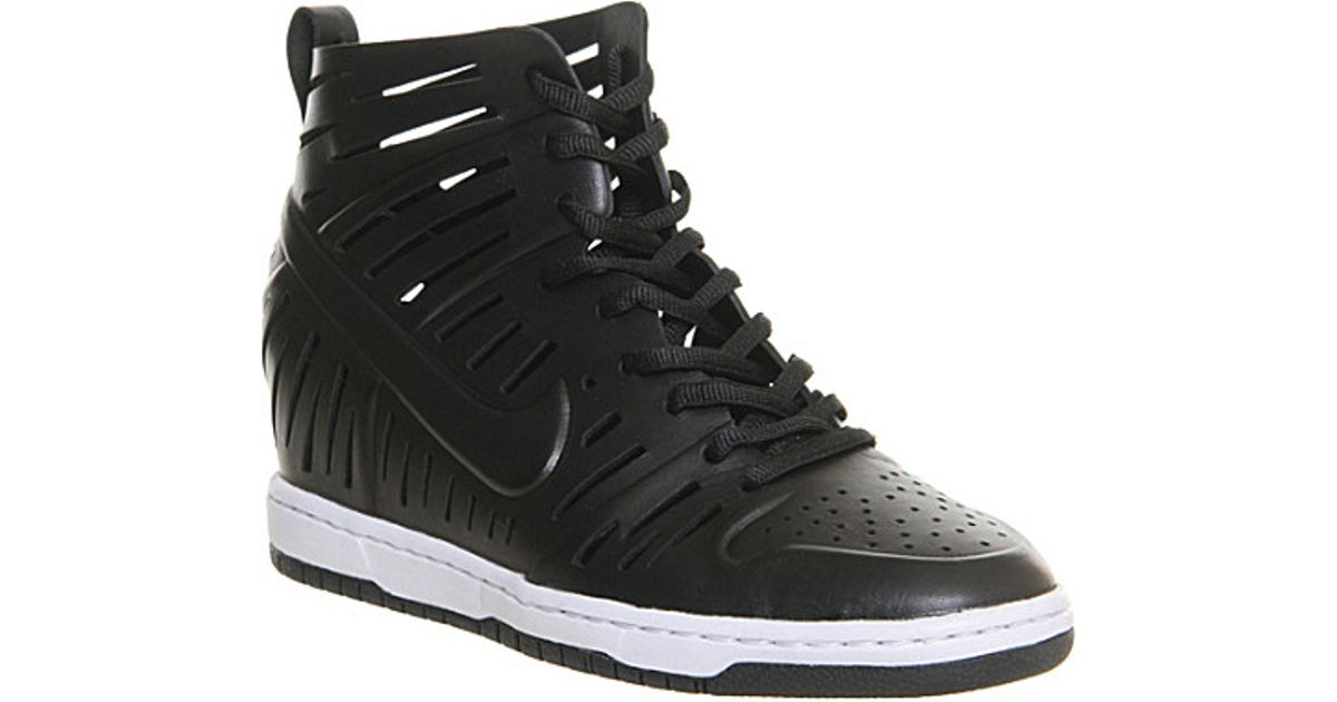 2ba37841fb65f Nike Dunk Sky Hi High-Top Leather Trainers - For Women in Black - Lyst