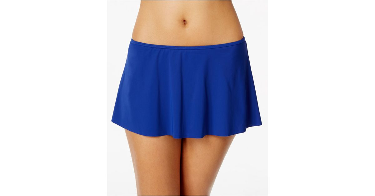 gottex pleated high low swim skirt in blue lyst