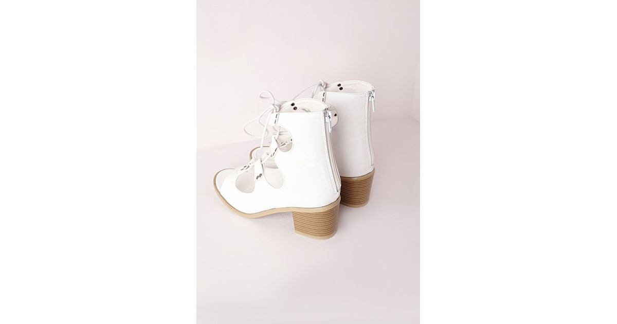 13fea3ab1cb Missguided Block Heel Gladiator Sandals White in White - Lyst