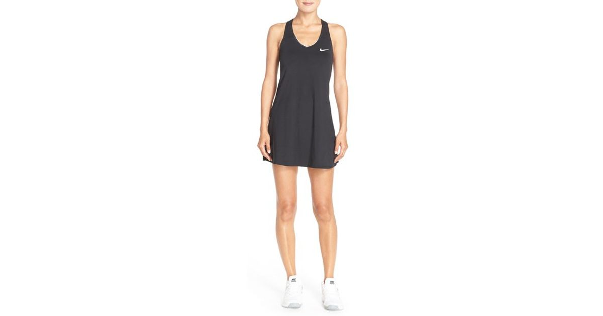 a00201bea65 Nike Pure Dri-fit Tennis Dress in Black - Lyst