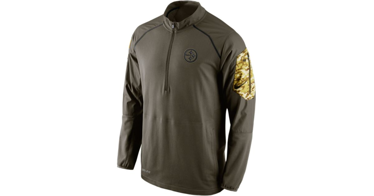 6a6edeeea Lyst - Nike Men s Pittsburgh Steelers Salute To Service Hybrid Quarter-zip  Pullover in Green for Men