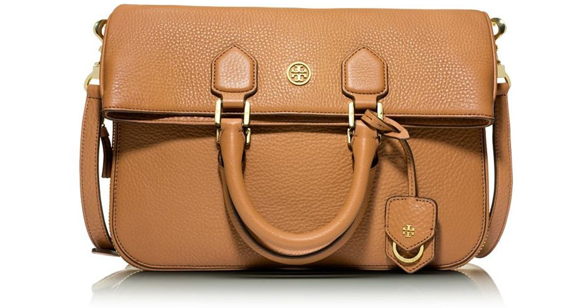 77a893b0715 Lyst - Tory Burch Robinson Pebbled Fold-Over Messenger in Brown