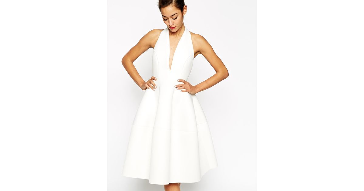 Lyst - Asos Premium Scuba Backless Halter Full Midi Dress in White