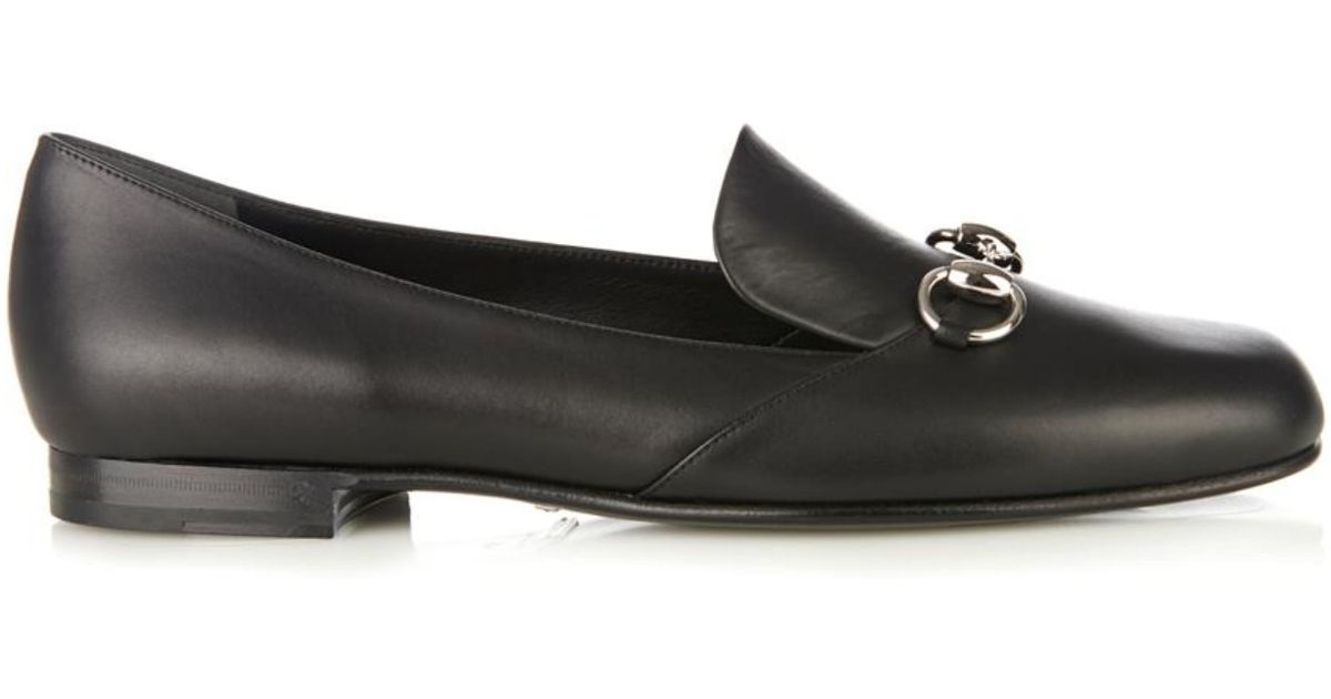 9d98c8648 Gucci Kira Leather Horsebit Loafers in Black - Lyst